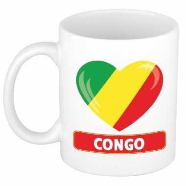 Congolese vlag hart mok beker 300 ml