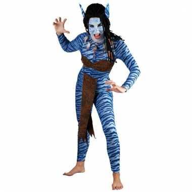 Dames blauwe jungle strijdster verkleedkleding