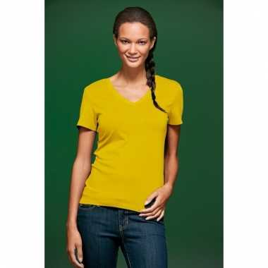 Dames cotton stretch shirts geel