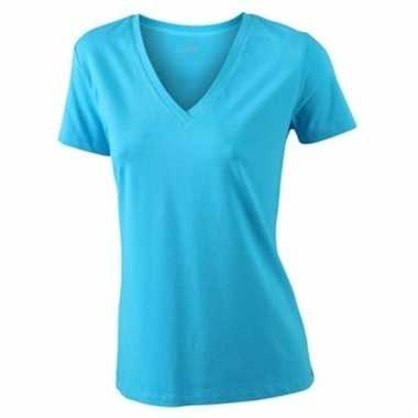 Dames cotton stretch shirts turquoise