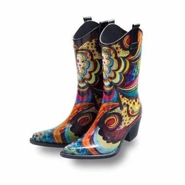 Dames cowboy rubberen laarzen bloem