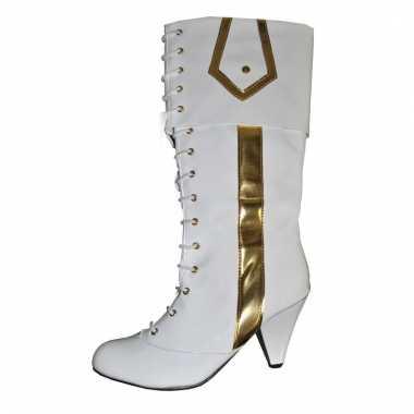 Dames feest laarzen wit/goud