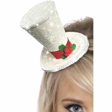 Dames haarband met wit kersthoedje