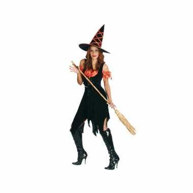 Dames heksenjurk zwart met oranje