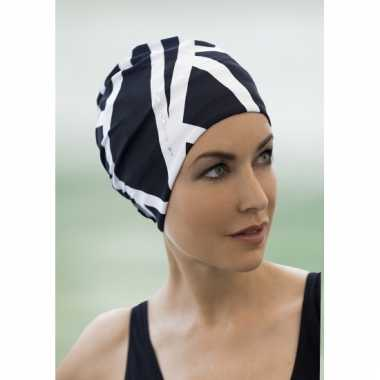Dames hoofddoek navy wit