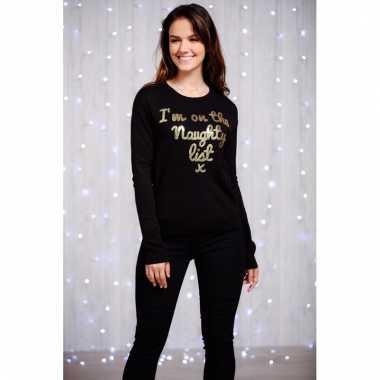 Dames kersttrui zwart met goud