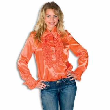 Dames overhemd oranje met rouches