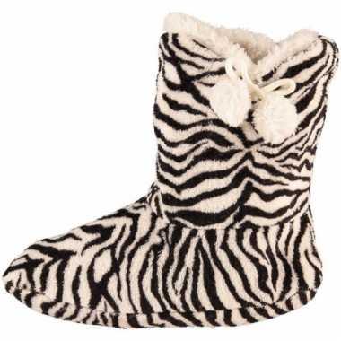 Dames pantoffel sokken zebra motief in het zwart