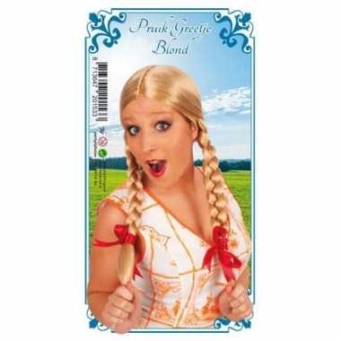 Dames pruik blond met vlechtjes