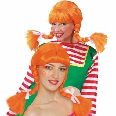 Dames pruik met oranje vlechten