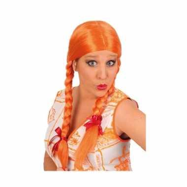 Dames pruik met vlechten oranje