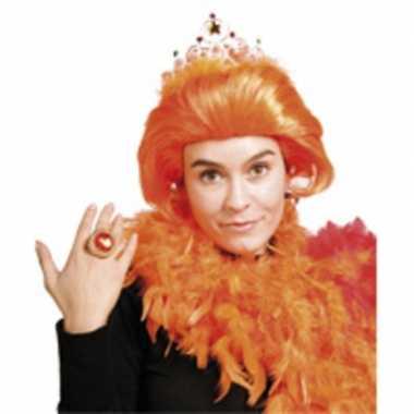 Dames pruik oranje beatrix met kroontje