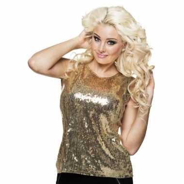 Dames shirt goud met pailletten
