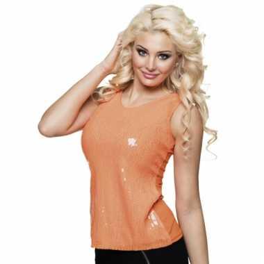 Dames shirt oranje met pailletten