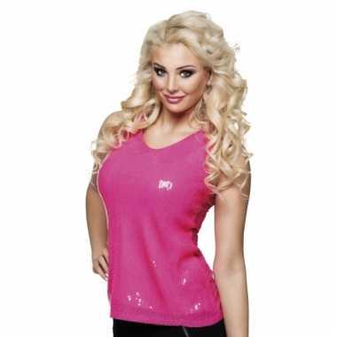 Dames shirt roze met pailletten