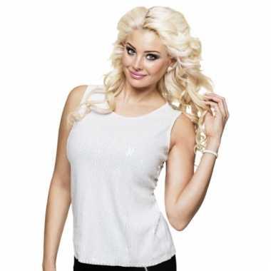 Dames shirt wit met pailletten