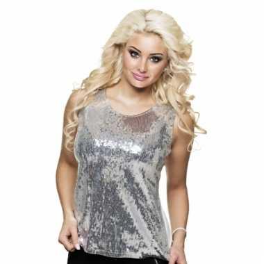 Dames shirt zilver met pailletten