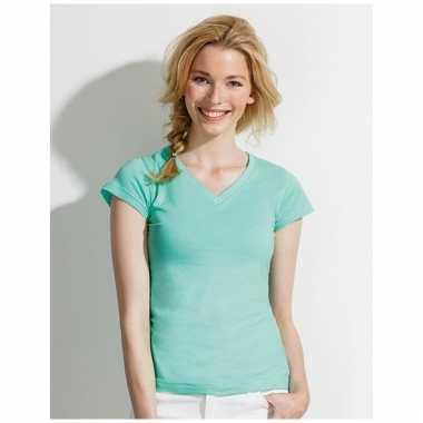 Dames shirts v-hals bodyfit mint groen