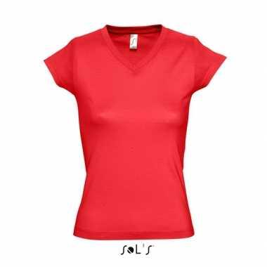 Dames shirts v-hals bodyfit rood