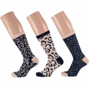 Dames sokken beige/navy luipaard design maat 35-42