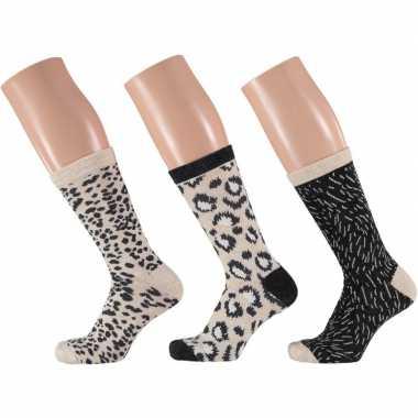 Dames sokken beige/zwart luipaard design maat 35-42