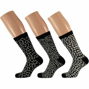 Dames sokken zwart/wit design maat 35-42 type 1