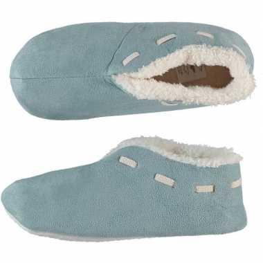 Dames spaanse sloffen/pantoffels licht blauw