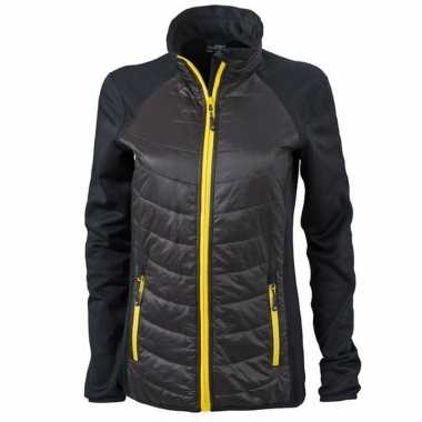 Dames stretch fleece jas zwart met geel