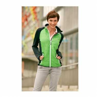 Dames stretch fleece midseason jas groen zwart