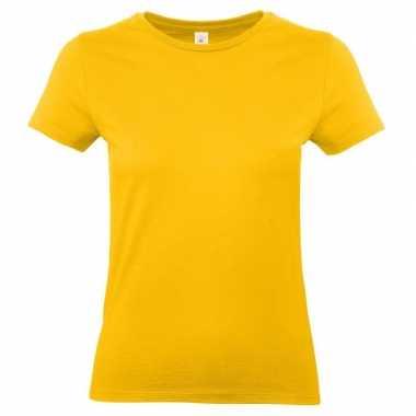 Dames t-shirt goud geel met ronde hals
