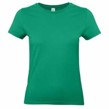 Dames t-shirt groen met ronde hals