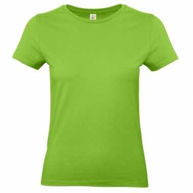 Dames t-shirt limegroen met ronde hals