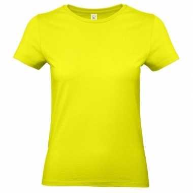 Dames t-shirt neon geel met ronde hals