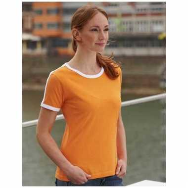 Dames t-shirt oranje met wit