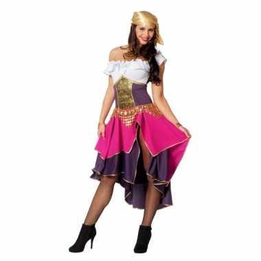 Dames zigeunerin kostuum paars/roze