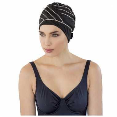 Dames zwem kapje zwart met bruine lijnen