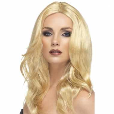 Damespruik blond superstar