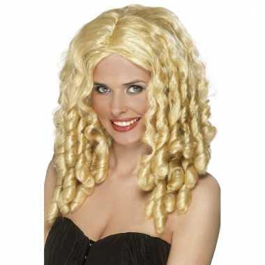 Damespruik met blonde krullen