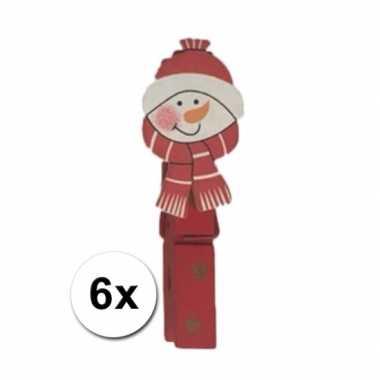 Deco kerst knijpers sneeuwpop 6 stuks