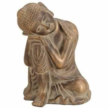 Decoratie beeld boeddha antiek goud 27 cm