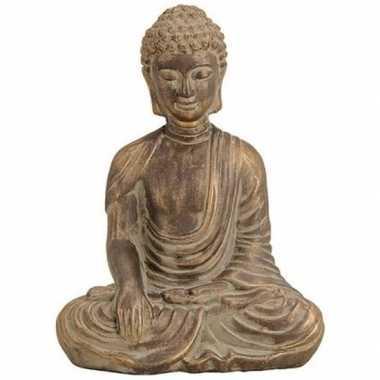 Decoratie beeld boeddha antiek goud 33 cm