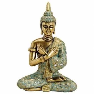 Decoratie beeld boeddha goud/groen 33 cm