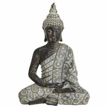 Decoratie beeld boeddha grijs/zwart 24 cm