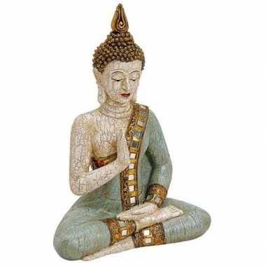 Decoratie beeld boeddha wit/groen 29 cm
