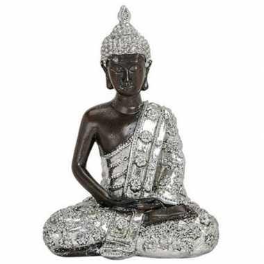 Decoratie beeld boeddha zilver/zwart 15 cm