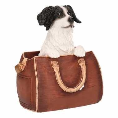 Decoratie beeld border collie hond in tas 11 cm