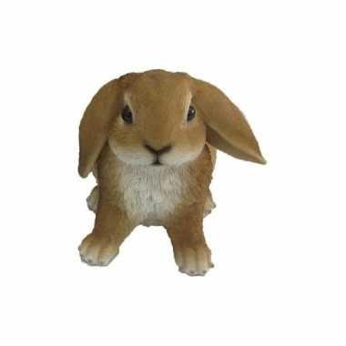 Decoratie beeld bruine hangoor konijn 15 cm