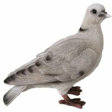 Decoratie beeld duif wit/grijs 19 cm