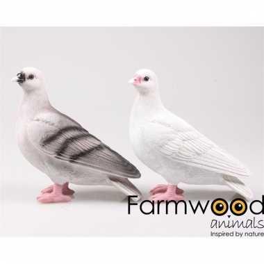 Decoratie beeld duiven vogel grijs 20 cm