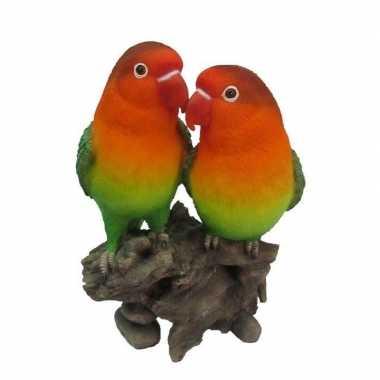 Decoratie beeld lovebirds vogel 24 cm